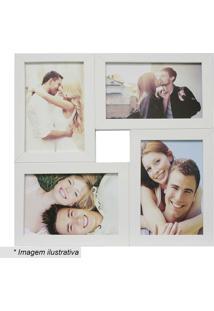 Painel Para 4 Fotos- Branco- 29,5X29,5X6Cm- Kapokapos