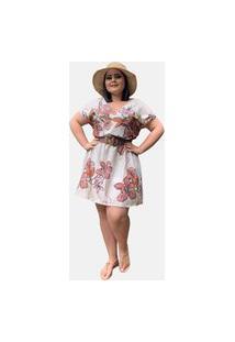 Vestido Curto Plus Size Social Casual Tnm Collection Estampado Moda Primavera Verão