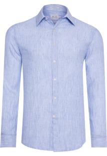 Camisa Masculina Linho Listrada -Azul