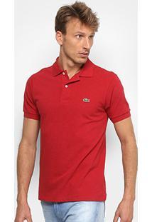 Camisa Polo Lacoste Mescla Masculina - Masculino-Bordô