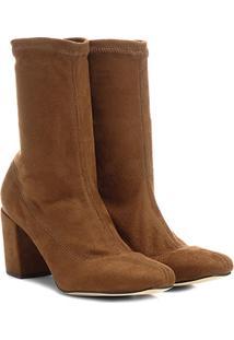 Bota Meia Cano Médio Shoestock Stretch Salto Grosso Feminina - Feminino-Caramelo