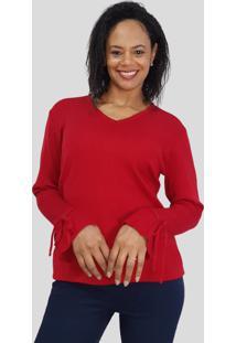 Blusa Modal C/ Babado No Punho Tomasini Tricot Outono/Inverno 2020 Vermelho