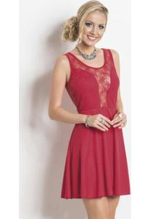 Vestido Vermelho Com Renda Frente E Costas