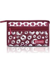 Necessaire Envelope Média Bolinha Jacki Design Microfibra - Feminino-Vinho