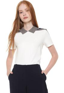 Camisa Polo Lacoste Reta Listras Off-White