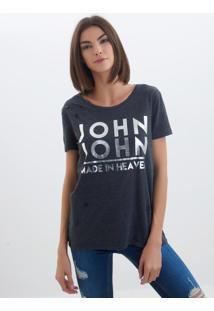 Camiseta John John Grey Malha Cinza Feminina (Cinza Medio, P)
