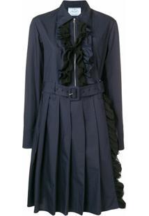 Prada Vestido Midi Com Cinto E Babados - Azul