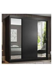 Guarda-Roupa Casal Madesa Reno 3 Portas De Correr Com Espelhos Cor:Preto