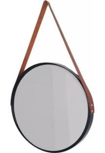 Espelho Decorativo Redondo Com Moldura Preta E Alã§A Caramelo - Preto - Feminino - Dafiti