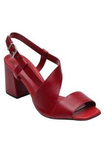 Sandália Assimétrica Vermelha Loucos E Santos