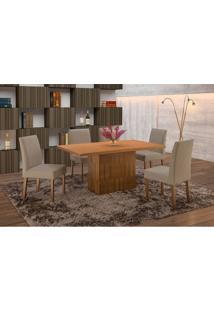 Conjunto De Mesa De Jantar Com 6 Cadeiras E Tampo De Madeira Maciça Arezo I Suede Castanho E Cinza