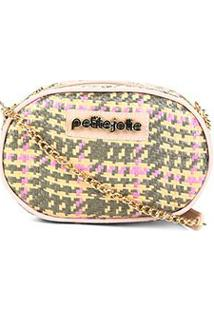 Bolsa Petite Jolie Mini Bag Rebel Palha Chess Feminina - Feminino-Verde