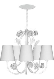 Lustre Candelabro Cúpula Flores Para 5 Lâmpadas Isadora Design Branco
