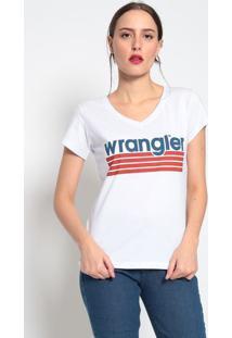 "Camiseta ""Wrangler®"" Listrada - Branca & Vermelhawrangler"