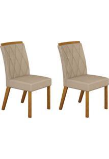 Conjunto Com 2 Cadeiras Esmeralda Imbuia Mel E Veludo Palha