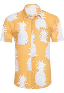 Camisa Masculina Abacaxi Manga Curta - Amarelo
