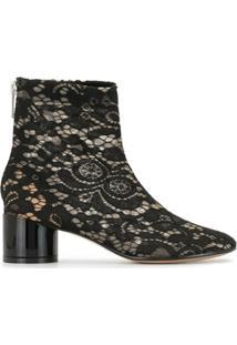 Mm6 Maison Margiela Ankle Boot Com Cadarço - Preto