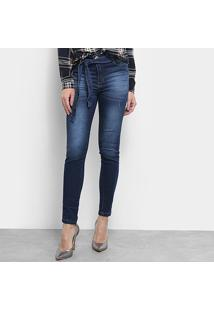 Calça Jeans Skinny Jezzian Jeans Estonada Amarração Feminina - Feminino-Azul