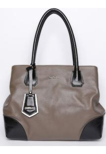 Bolsa Em Couro Com Bag Charm & Recortes- Cinza Escuro & Griffazzi