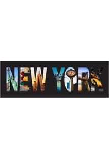 Placa Decorativa New York 10X30 Cm Preto