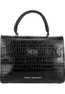 0448c611d ... Bolsa Couro Jorge Bischoff Handbag Croco Feminina - Feminino-Preto