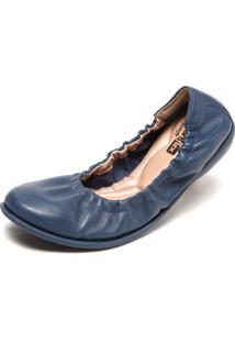 Sapatilha Couro Comfortflex Elástico Azul-Marinho