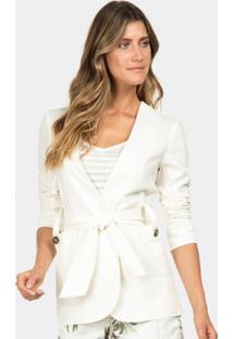 Blazer Em Linho Com Cinto Branco Off White - Lez A Lez