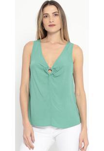 Blusa Com Aviamento & Franzidos- Verde- Colccicolcci