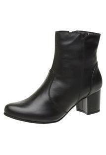 Bota Cano Curto Ousy Shoes Salto Quadrado Couro Legitimo Preta
