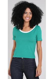 Blusa Feminina Canelada Com Lurex Manga Curta Decote Redondo Verde