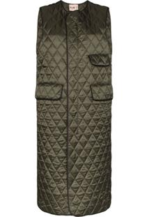 Plan C Long Quilted Gilet - Verde