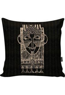 Capa Para Almofada African- Preta & Nude- 45X45Cm