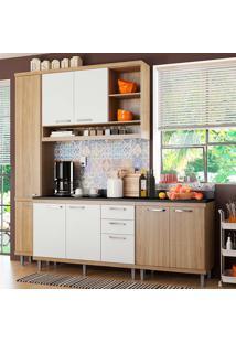 Cozinha Compacta Com Tampo 5 Peças 5813-S7T Sicília - Multimóveis - Argila Acetinado / Branco Acetinado