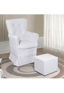 Poltrona De Amamentação Com Puff Siena Móveis Corino Branco