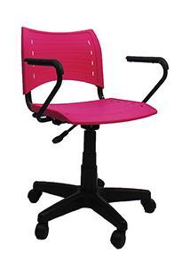Cadeira Evidence Giratória Com Braço Rosa - At.Home