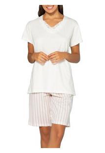 Pijama Curto Listrado Pzama (50022) 100% Algodão