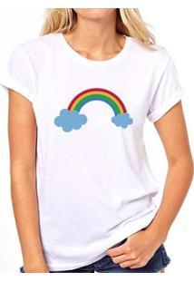 Camiseta Coolest Arco Íris Feminina - Feminino-Branco