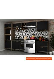 Cozinha Compacta Vitória I 9 Pt 5 Gv Preta E Avelã