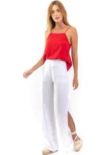 Blusa Decote Reto Feminina - Feminino-Vermelho