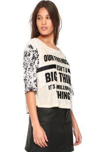 Camiseta My Favorite Thing(S) Veludo Estampada Bege