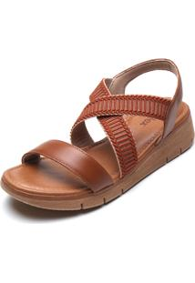 Sandália Usaflex Tiras Cruzadas Caramelo