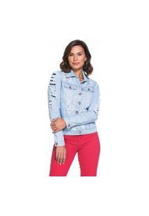 Jaqueta Jeans Lúcia Figueredo Destroyed Azul