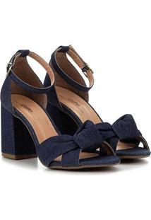 Sandália Jeans Griffe Salto Grosso Nó Feminina - Feminino-Jeans