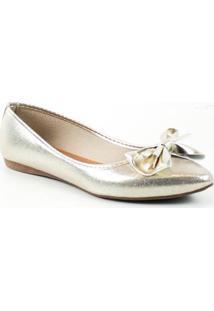 Sapatilha Tag Shoes Verniz Laço Feminino - Feminino-Dourado