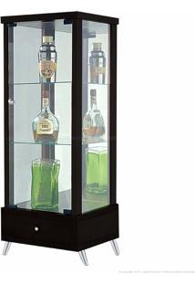 Cristaleira 1 Porta De Vidro Com Espelho E Pés Palito Onix 100% Mdf 1 Gaveta Tabaco - Móveis Forini