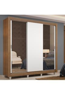 Guarda-Roupa Casal Madesa Lyon 3 Portas De Correr Com Espelhos 2 Gavetas Com Pã©S Marrom - Marrom - Dafiti