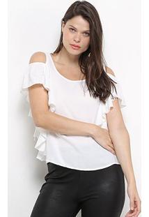 Blusa Jolie Open Shoulder Babado Feminina - Feminino-Branco