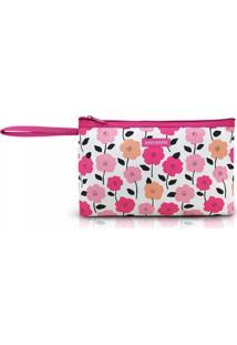 Necessaire Com Alça Tam. G Estampa Flores Jacki Design Pink Lover Pink