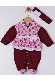 Enxoval Infantil Para Bebê Menina - Bordô
