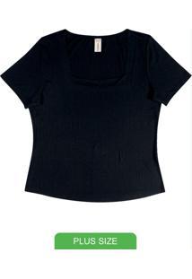 Blusa Feminina Decote Quadrado Preto